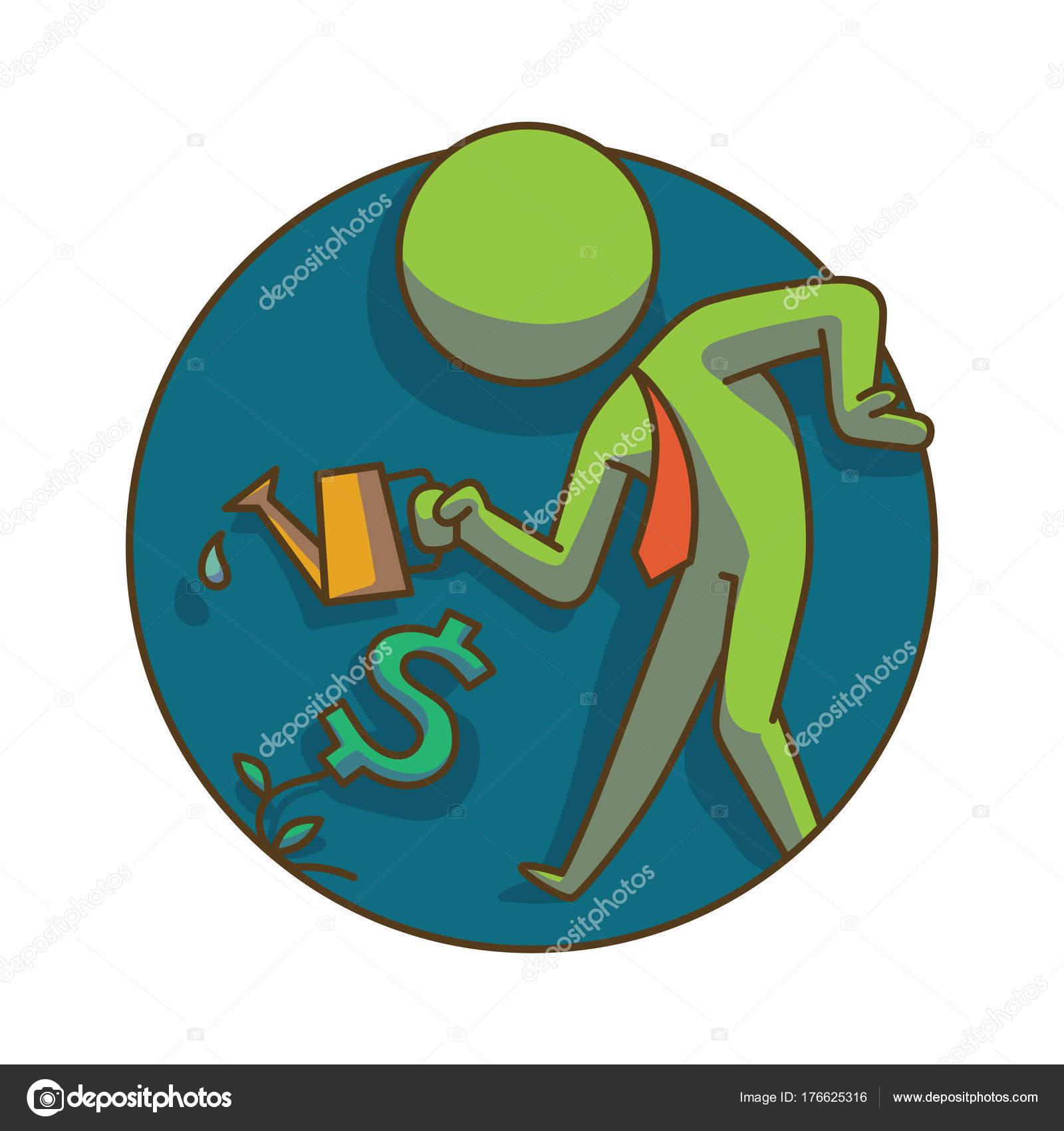 Icono de negocio redondo marco: hombre de negocios con una regadera ...