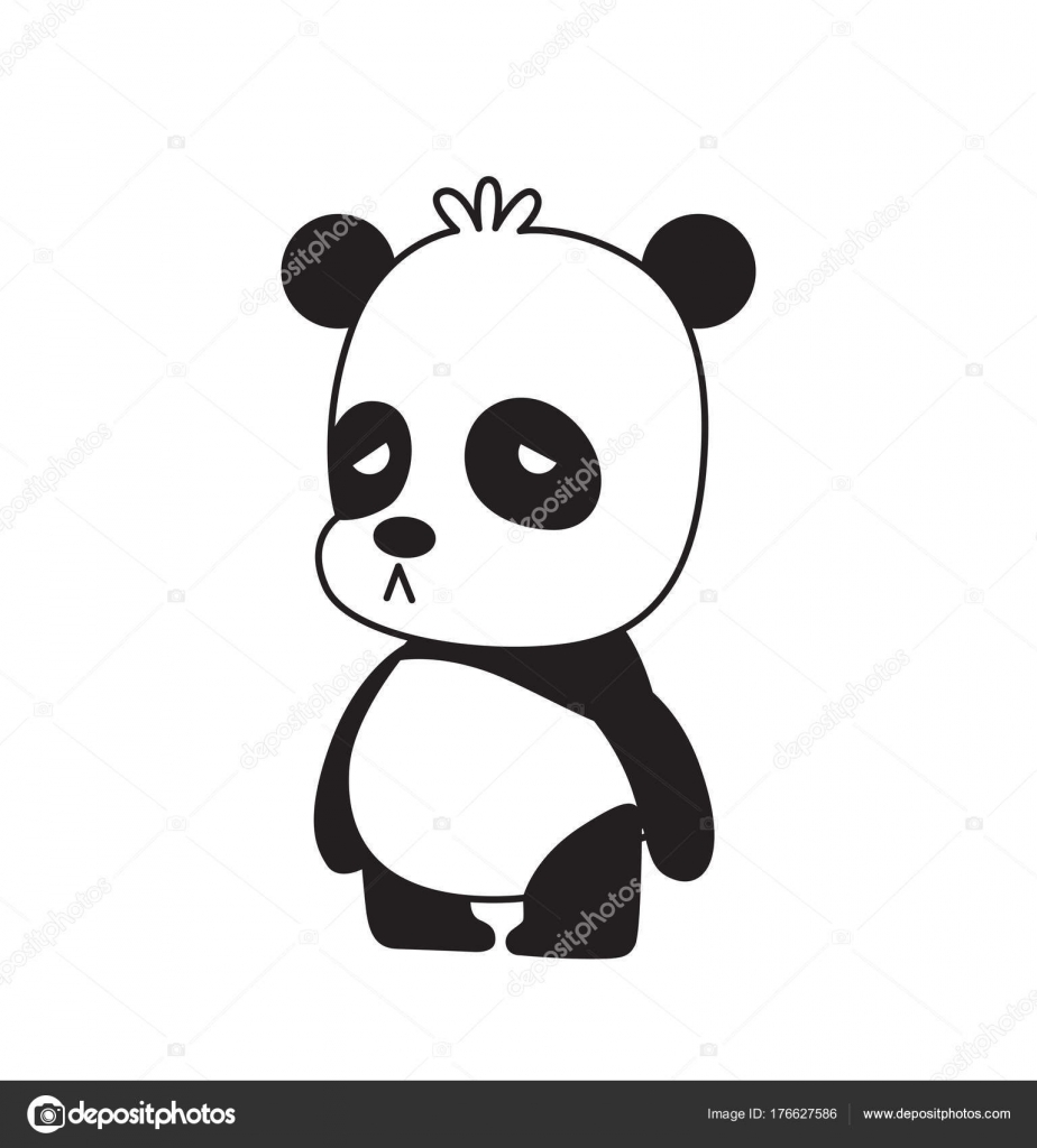 Mignon Petit Panda Permanent Triste Image Vectorielle