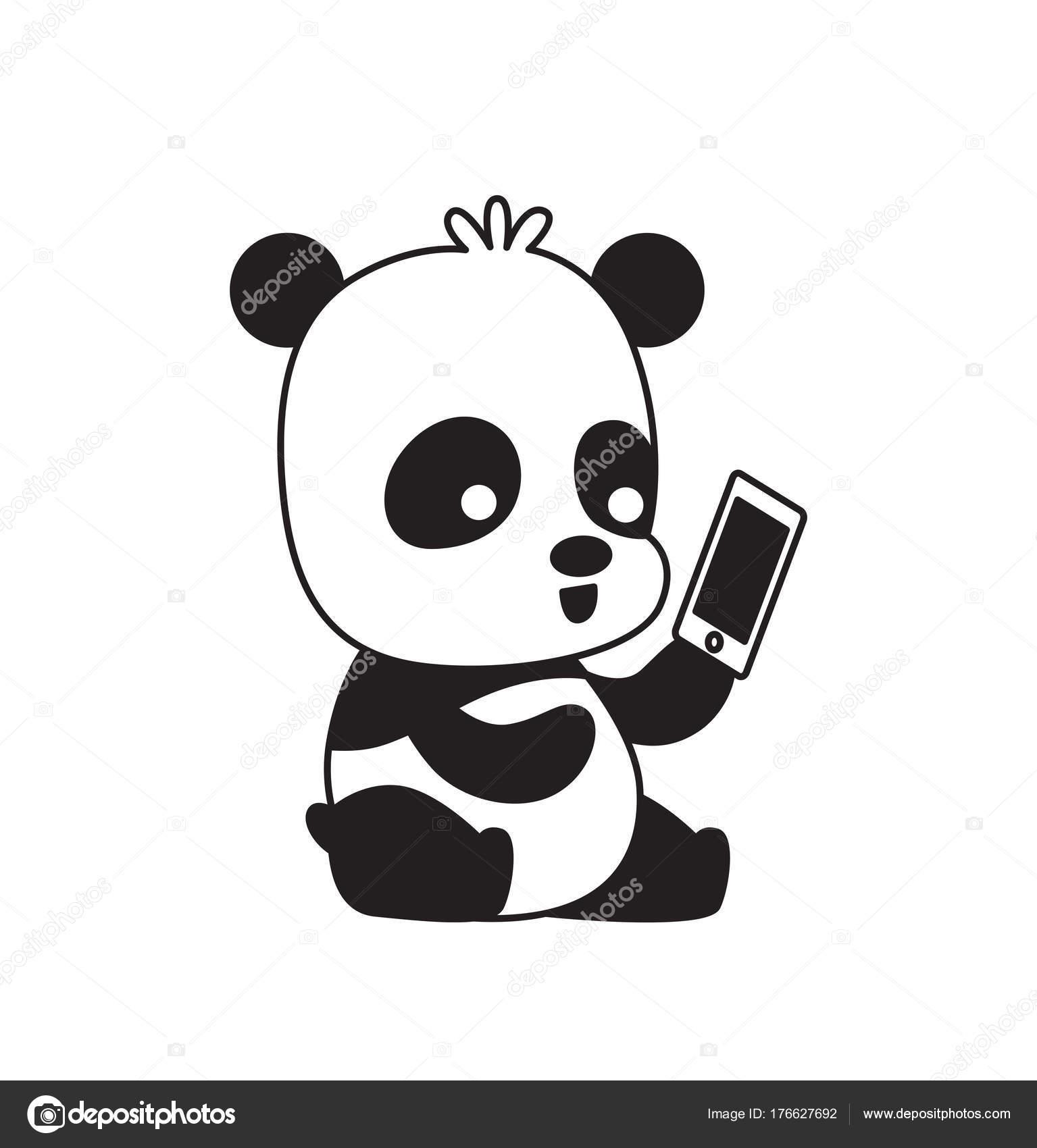 Mignon Petit Panda Avec Un Smartphone Image Vectorielle