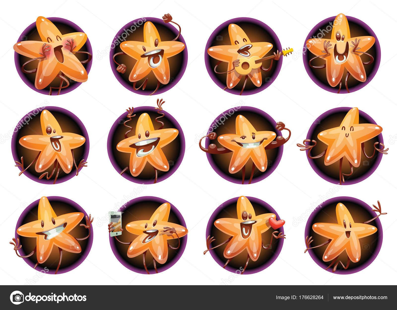 Conjunto de doce Marcos redondeos con divertidas estrellas de Oro ...