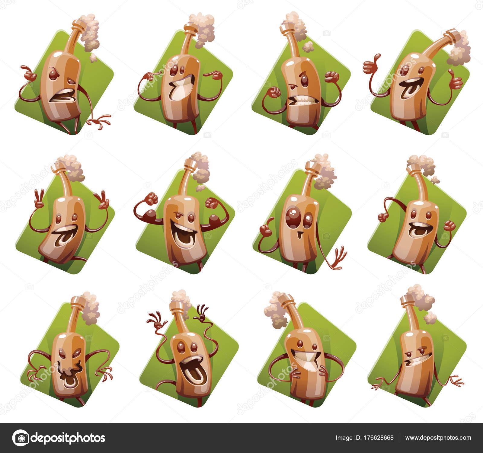 Set of twelve frames with funny brown beer bottles — Stock Vector ...