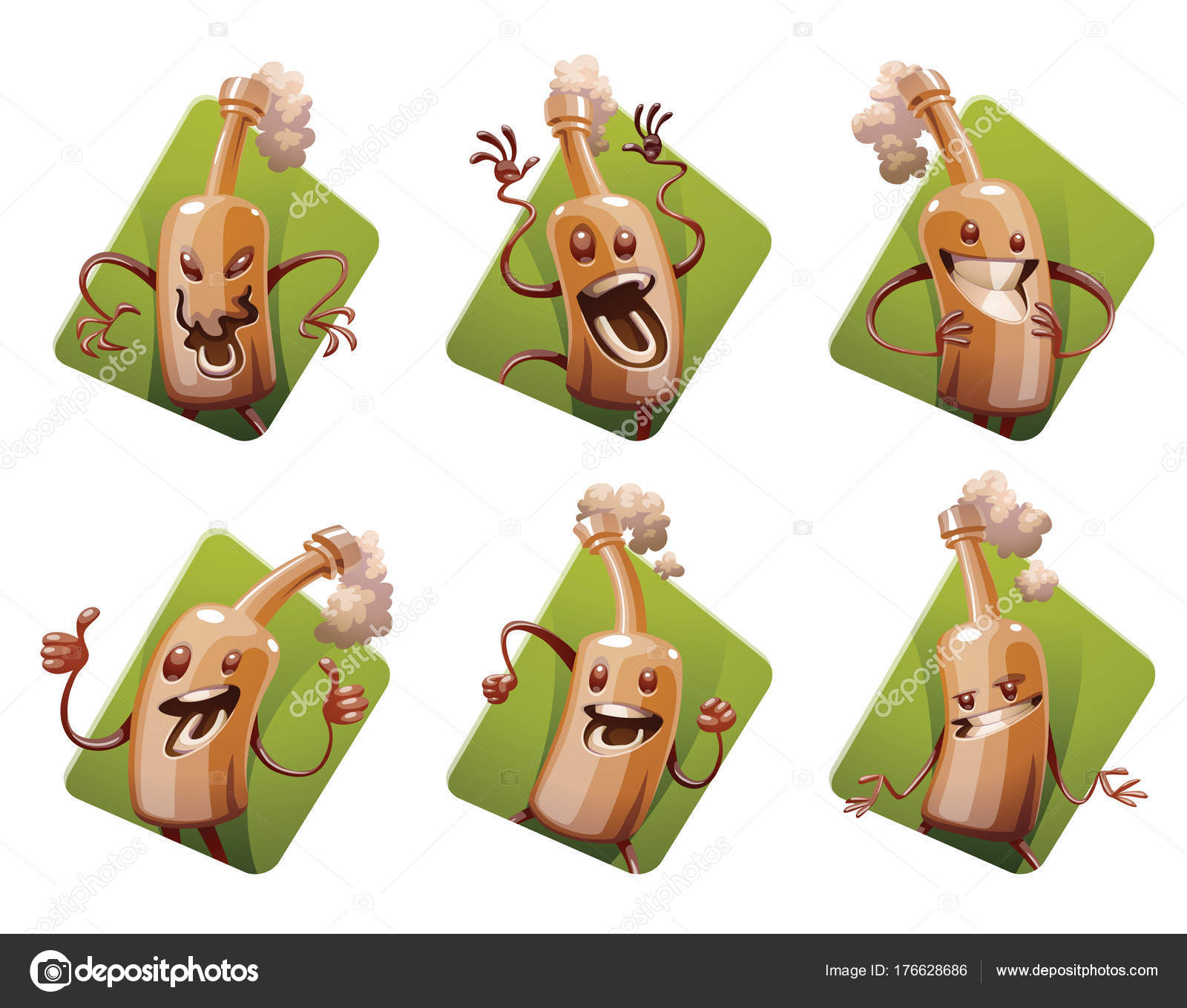Set of six frames with funny brown beer bottles — Stock Vector ...