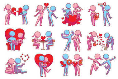 Set of twelve loving couples with different actions, color image