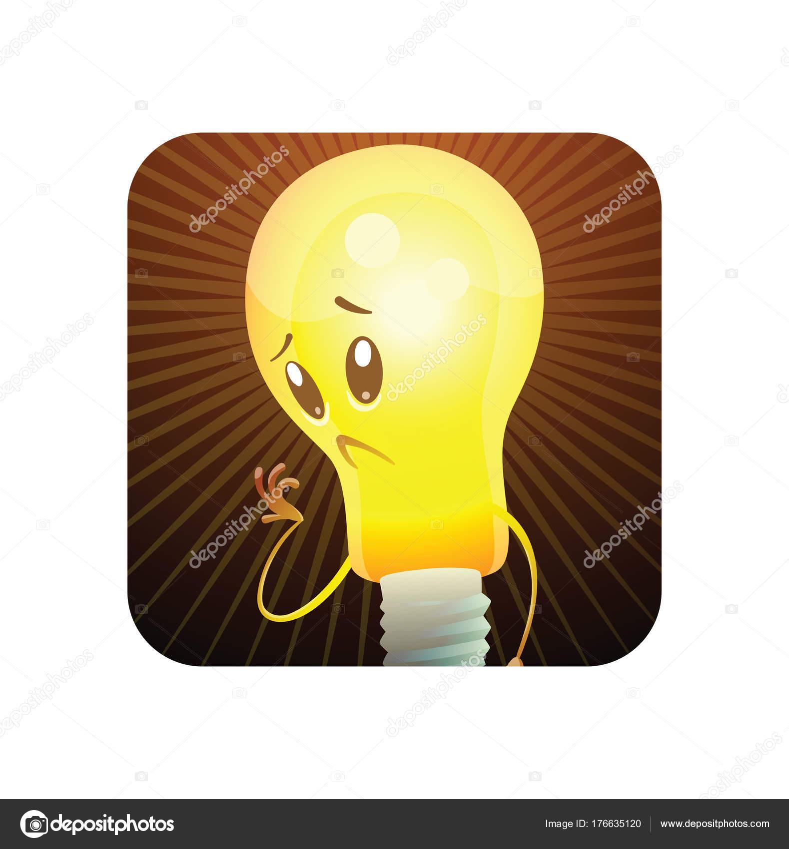Quadratische Rahmen, lustige gelbe Glühbirne nachdenklich und ...