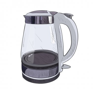 Vector color sketch of glass electric kettle.