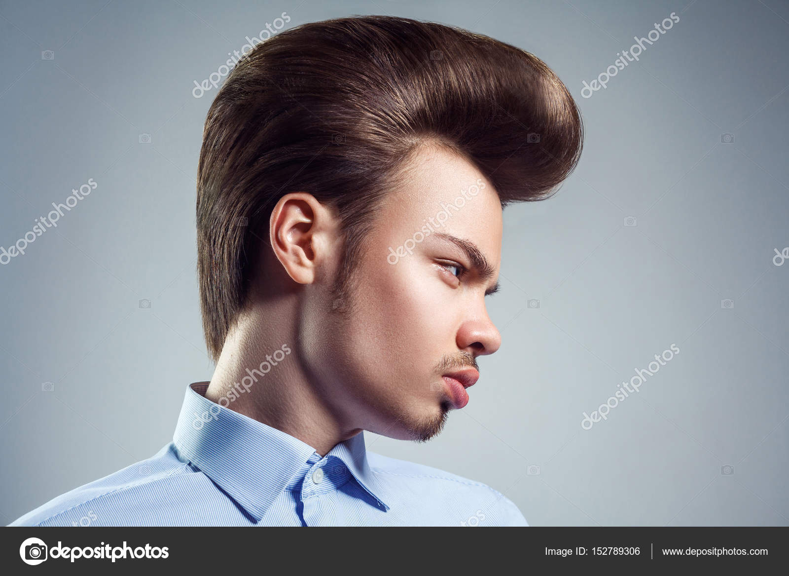 Side View Of Young Man With Retro Classic Pompadour Hairstyle