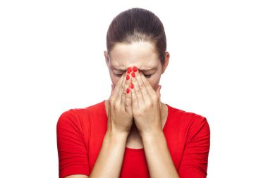 Portrait of sad unhappy crying woman in red t-shirt with freckles. closed eyes with hands, studio shot. isolated on white background. stock vector