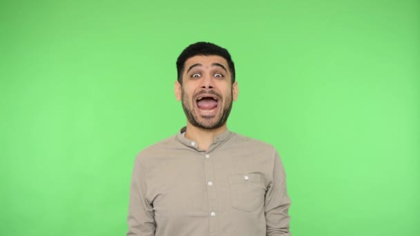 Funny carefree brunette man with bristle in shirt sticking out tongue and winking two eyes, showing childish derisive grimace, making a face, fooling around. studio shot, green background, chroma key