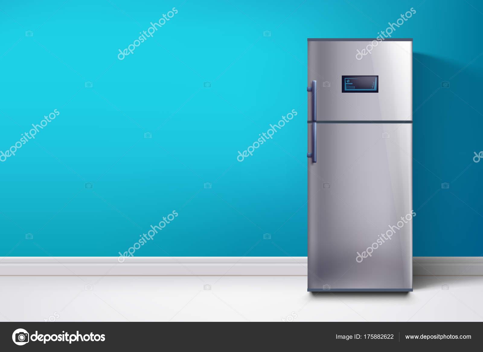 Amerikanischer Kühlschrank Blau : Kühlschrank bei blauen wand u stockvektor ifh