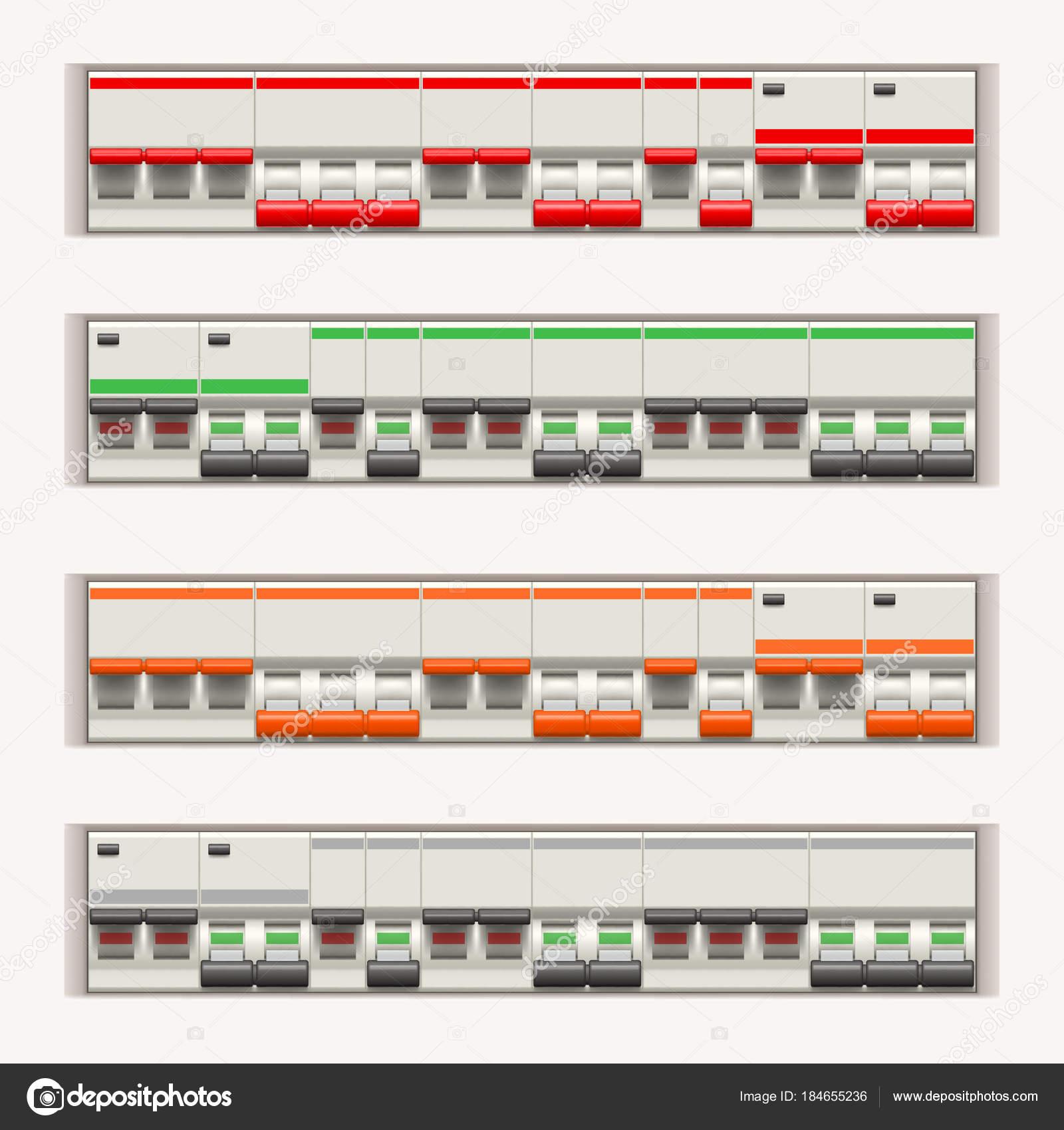 elektrische Schalter in Zeile — Stockvektor © IfH85 #184655236