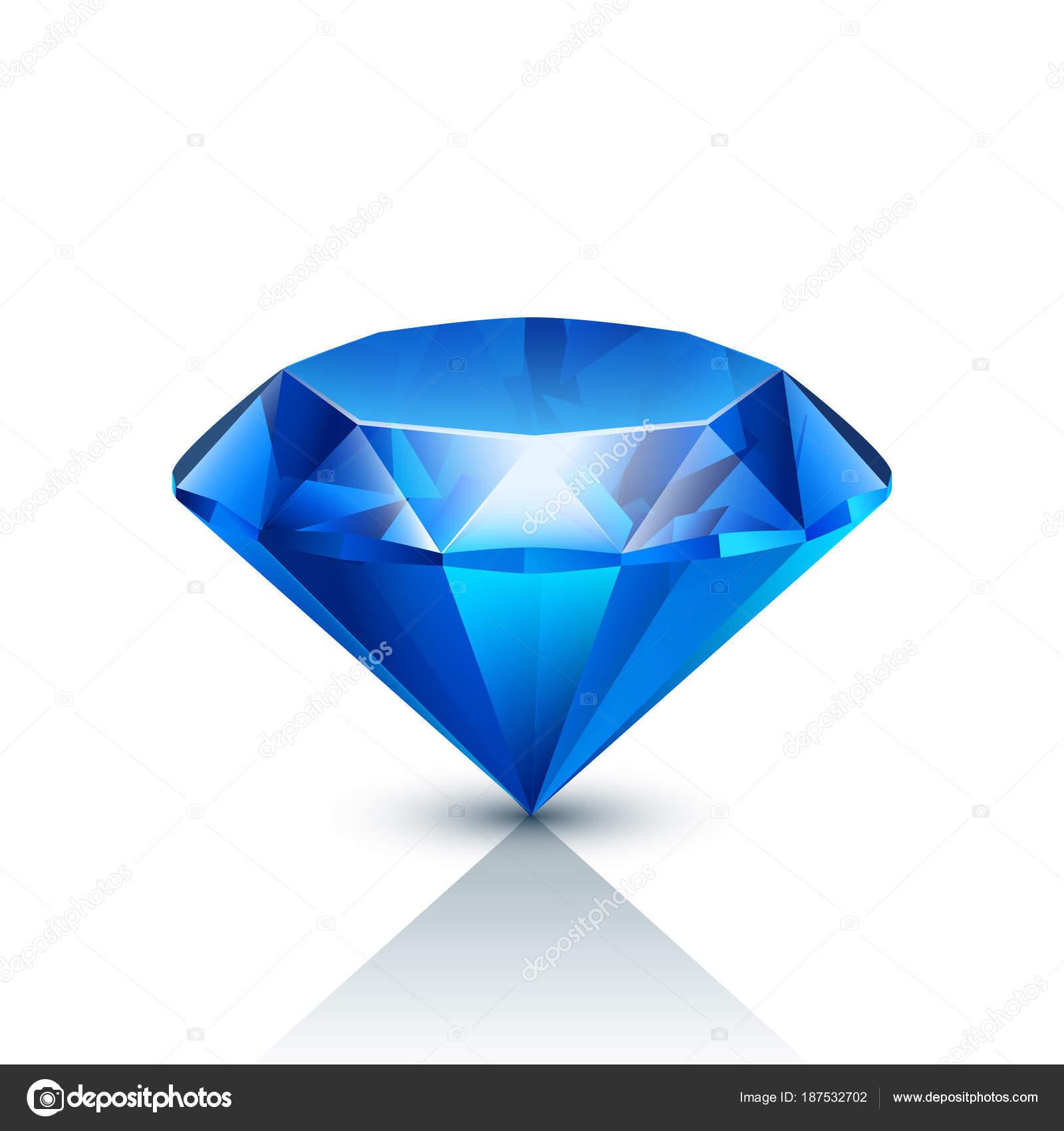 94e2b799382a Ilustración de joyas realistas azul con sombra sobre fondo blanco — Vector  de ...