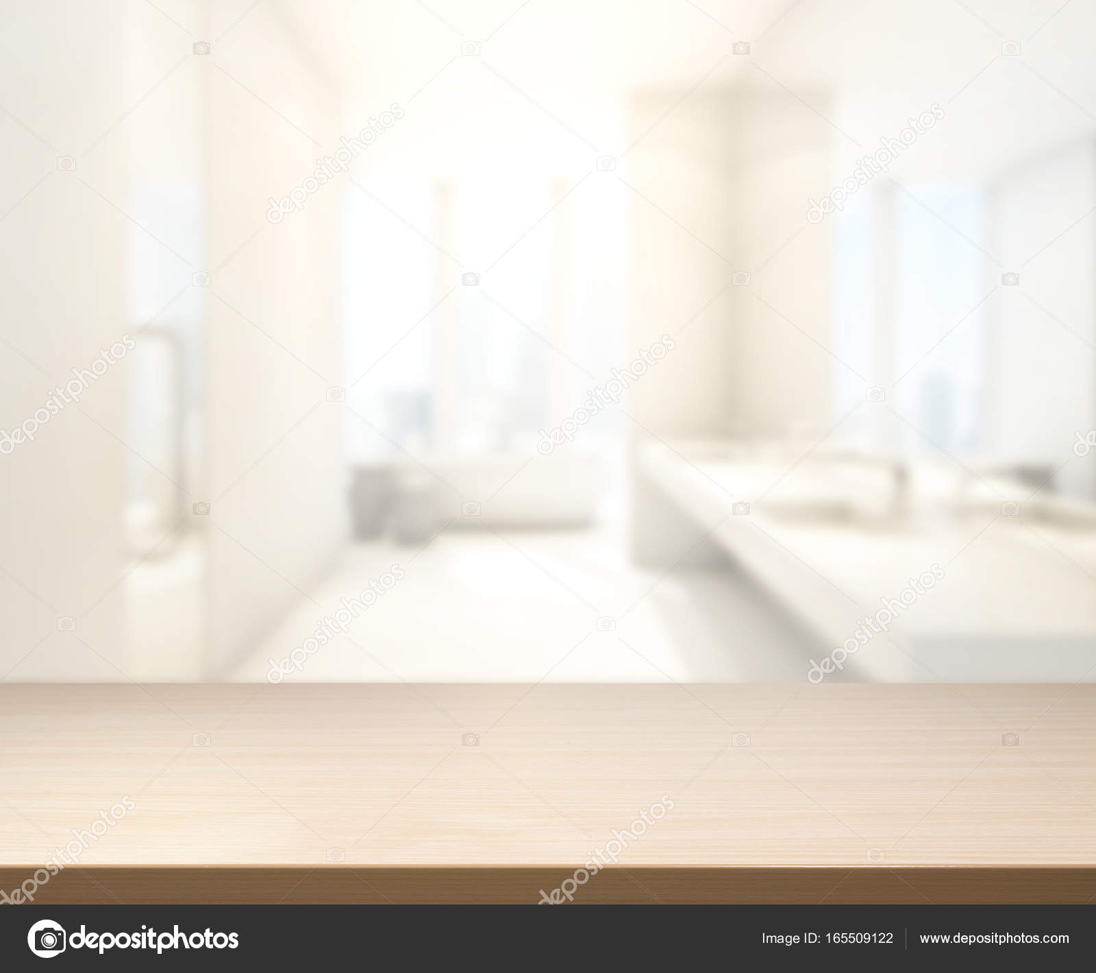 Table Top And Blur Bathroom Of Background Stock Photo