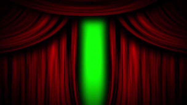Piros függöny színpad opera mozi nyitott közeli zöld képernyő animáció 3d