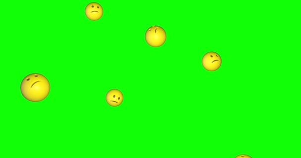 Emoji emoticon scared confused request face falling green screen chroma key animation 3d