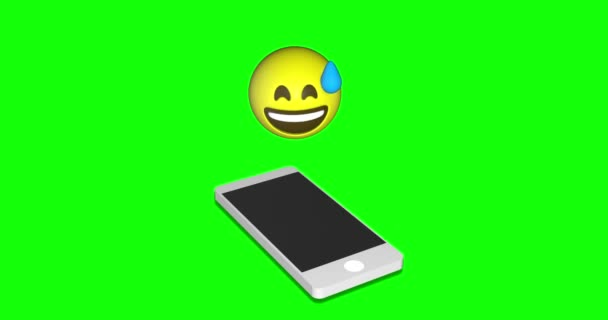 Emoji emoticon face of sweet smile happiness open mouth cell phone green screen chroma key animation 3d