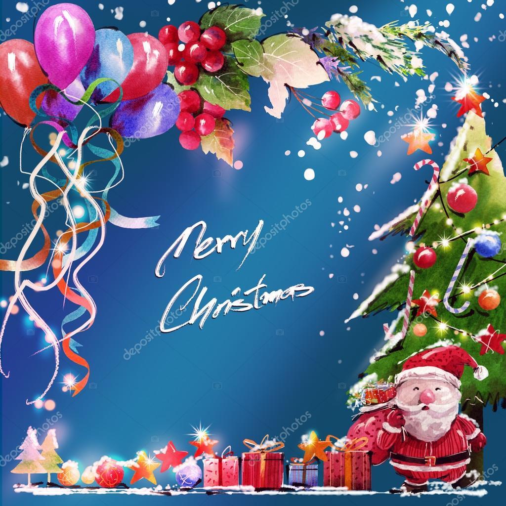 Imágenes Tarjetas De Navidad Para Escribir Acuarela Digital Y