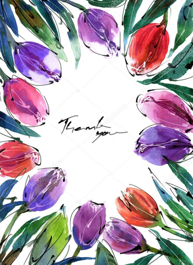 Watercolor painting  flowers tulip