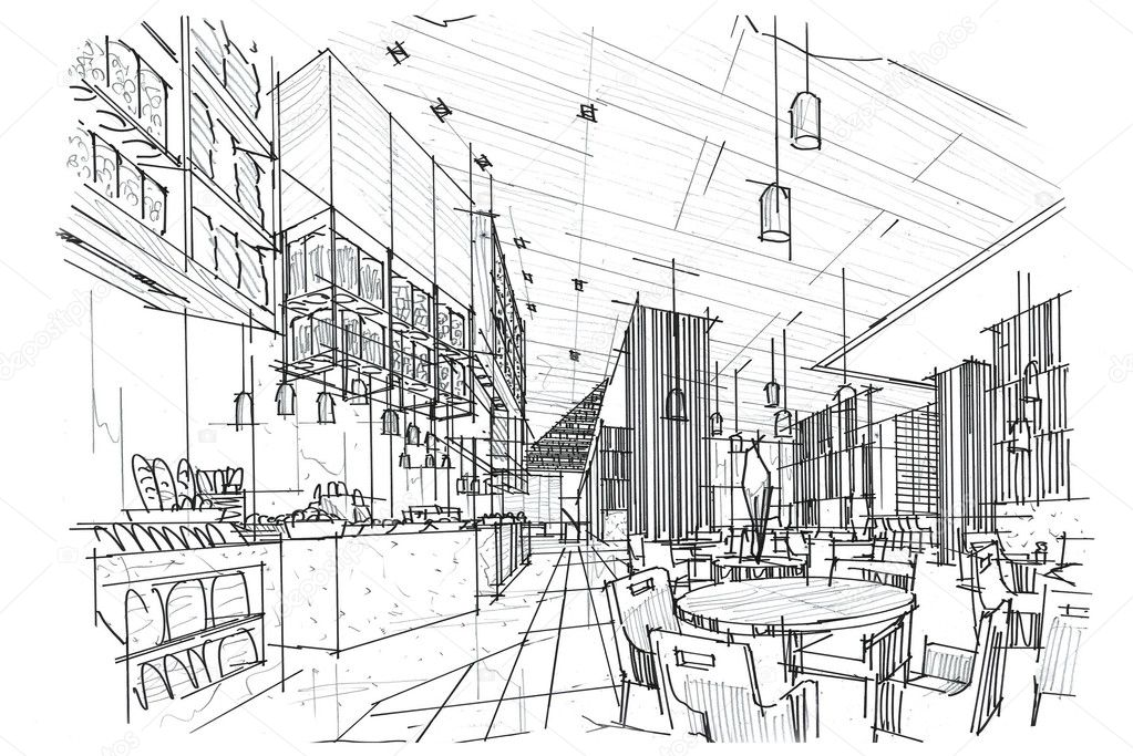 Restaurant perspective drawing | Sketch perspective interior ...