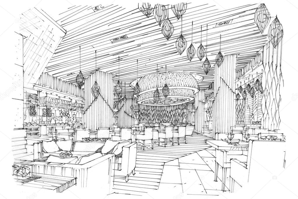 Sketch perspective interior all day & restaurant — Stock ...