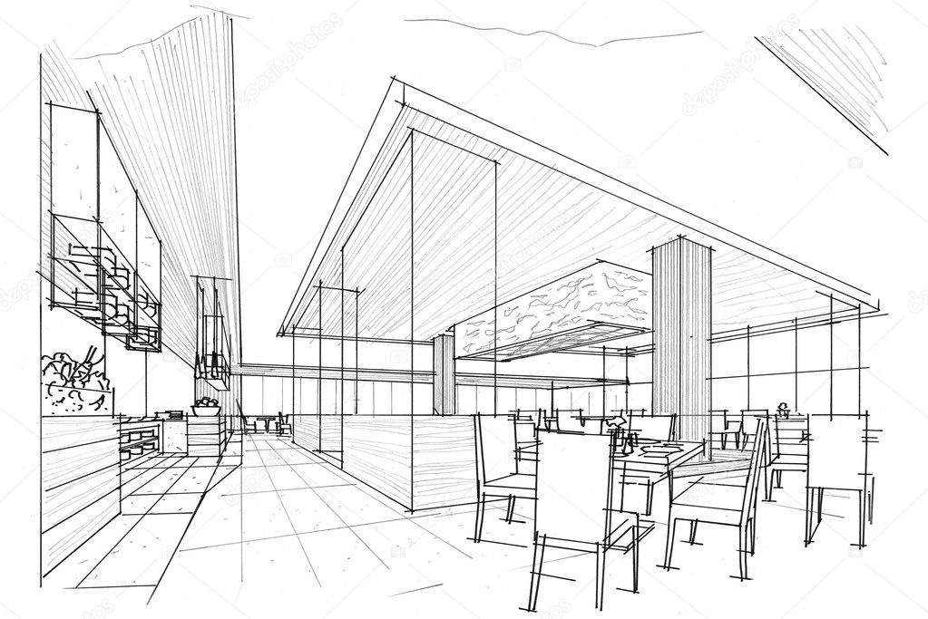 Sketch Interior Perspective Stock Photo 169 Last19 128760848