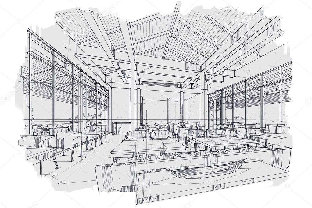Restaurant interior sketch pixshark images
