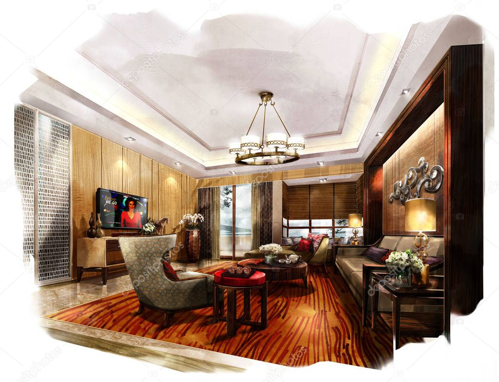 Sketch interior perspective. Painting watercolor \u2014 Stock