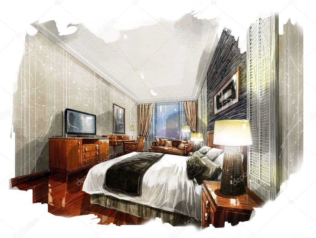 Schets interieur perspectief aquarel schilderij u stockfoto