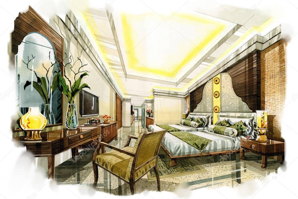 Sketch Interior Perspective. Painting Watercolor U2014 Stock Photo