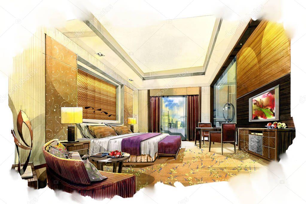 [QUARTO DE HOTEL] Um bom quarto em uma Pocilga, quem diria Depositphotos_129020114-stock-photo-sketch-interior-perspective-painting-watercolor