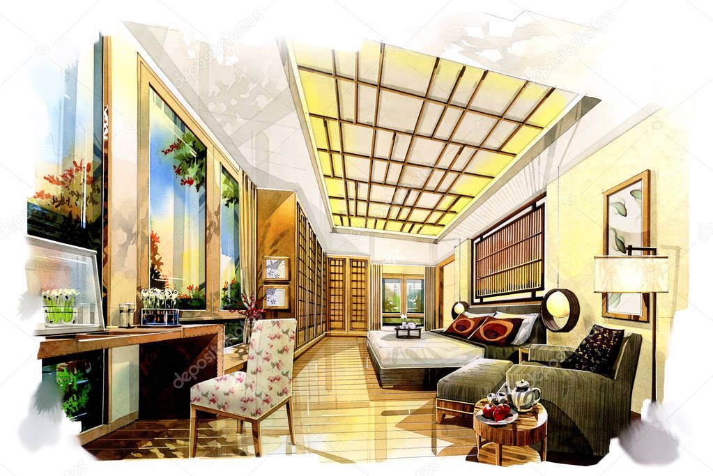 Bedroom Interior Drawing