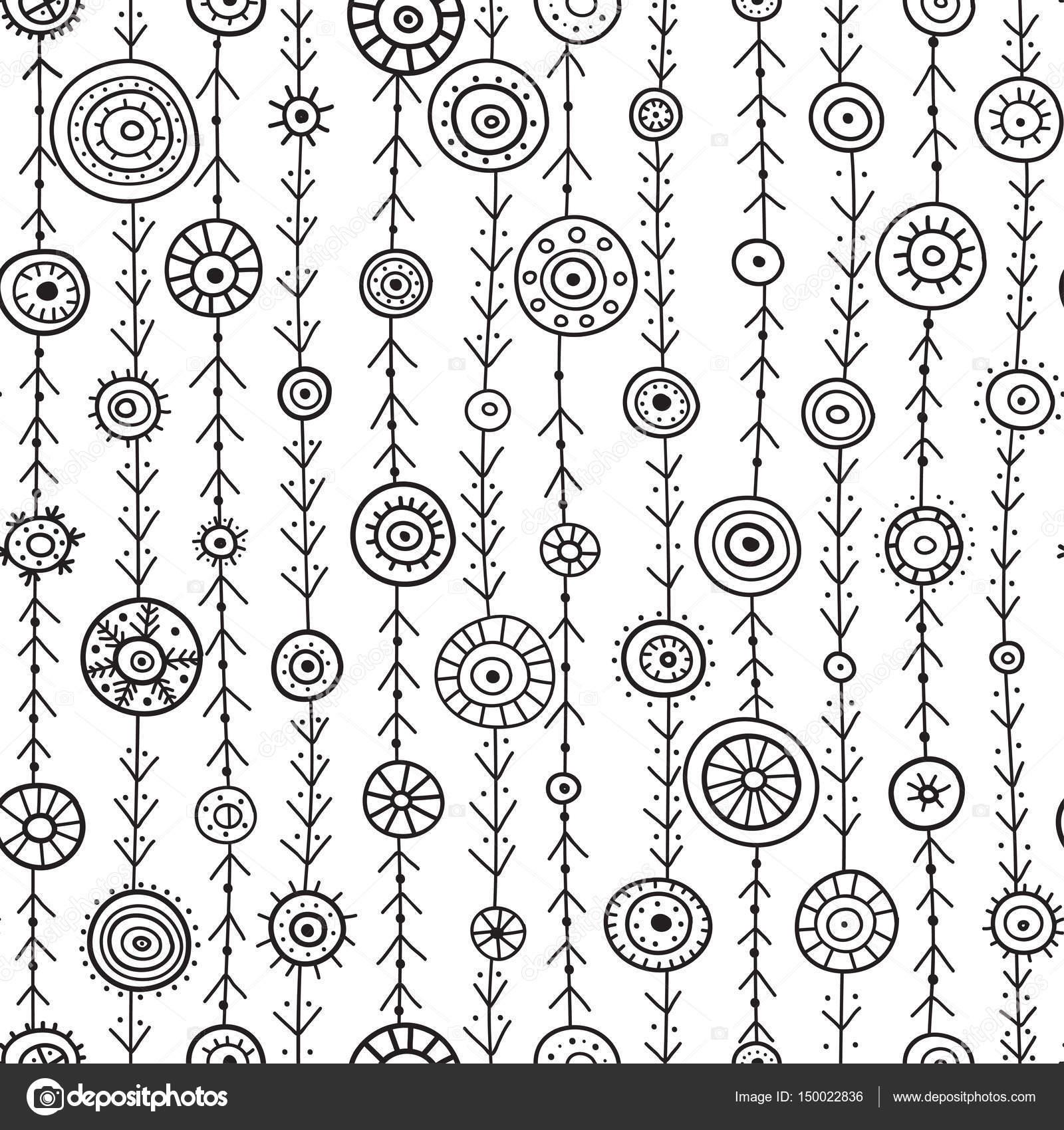 círculos ornamentales en líneas del patrón sin costuras — Vector de ...