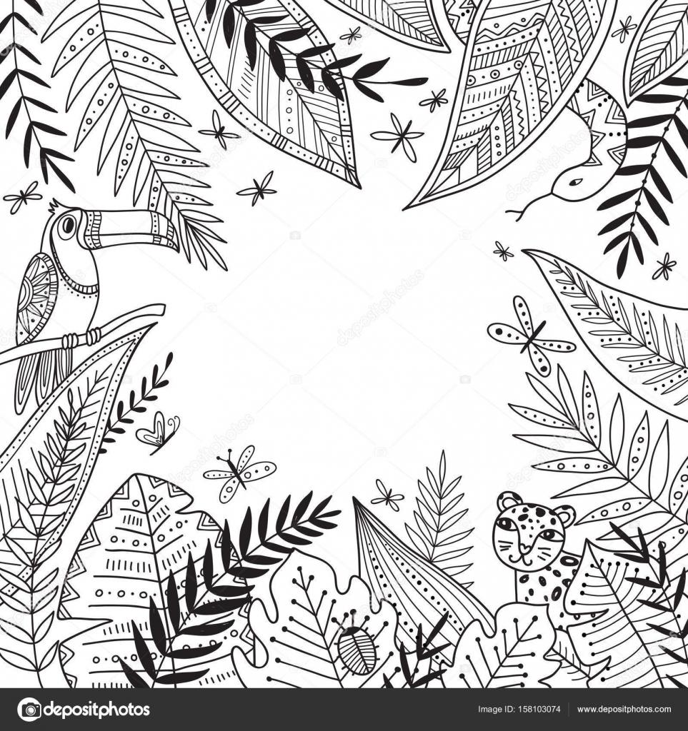 Marco de selva de vector con plantas exóticas en boho estilo tribal ...