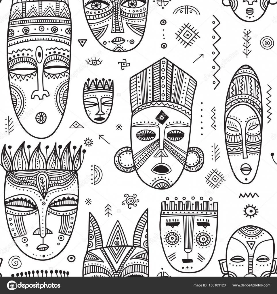 Patrón transparente de vector con máscaras tribales étnicas ...