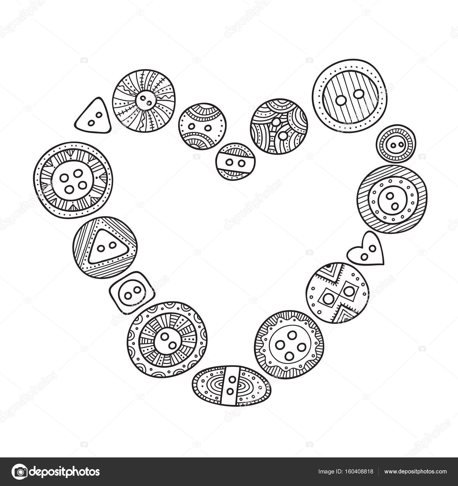 Vector heart frame with cloth buttons in boho style — Stock Vector ...