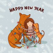 Vector New Year card with girl and dogs