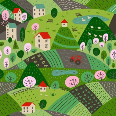 Vector seamless pattern of spring village landscape with farm and fields, mountains and forest. Can be printed and used as wrapping paper, wallpaper, textile, apparel, fabric etc.
