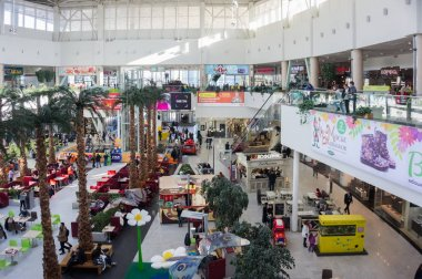 KRASNOYARSK, KRASNOYARSK TERRITORY, RF - March 18, 2017: Urban residents relax and make purchases during the weekend, in the shopping and entertainment center