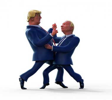January 14, 2017: Character portrait of Donald Trump and Vladimir Putin. 3D illustration