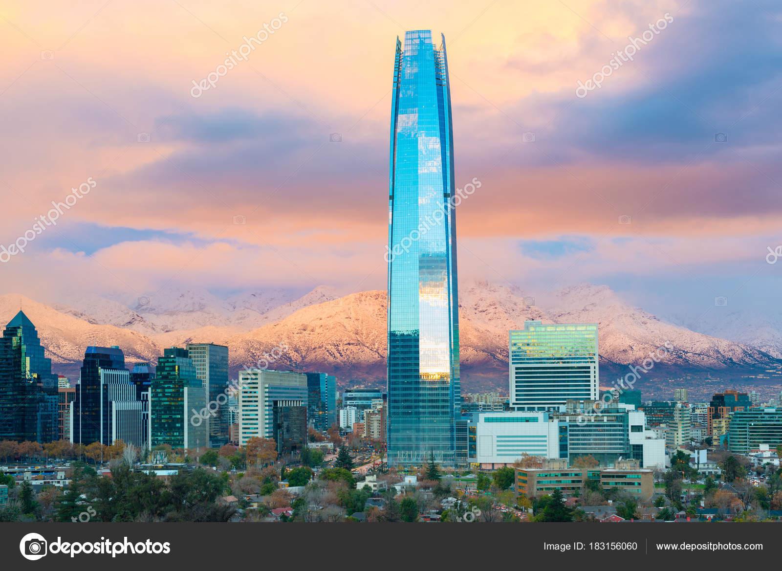 Skyline Von Santiago Chile Mit Los Anden Den Rücken Las Stockfoto