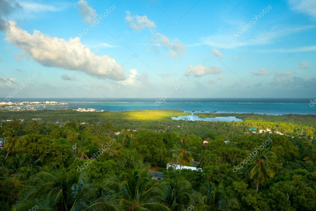 Overview of  San Andres Island and the sea of the seven colors, Colombia, South America