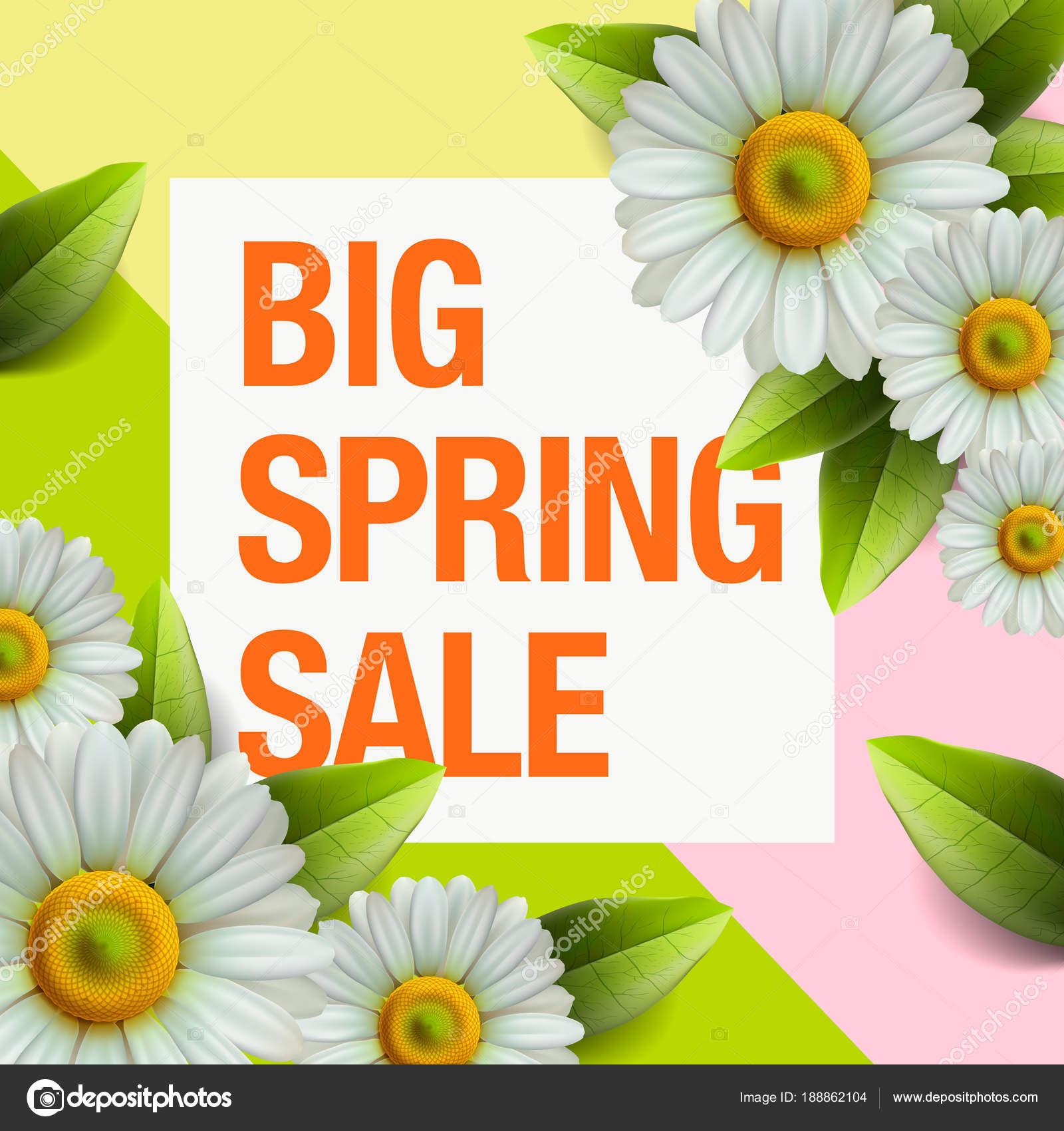 Spring sale design with colorful flowers daisy and leaves spring sale design with colorful flowers daisy and leaves background for spring seasonal promotion izmirmasajfo Images