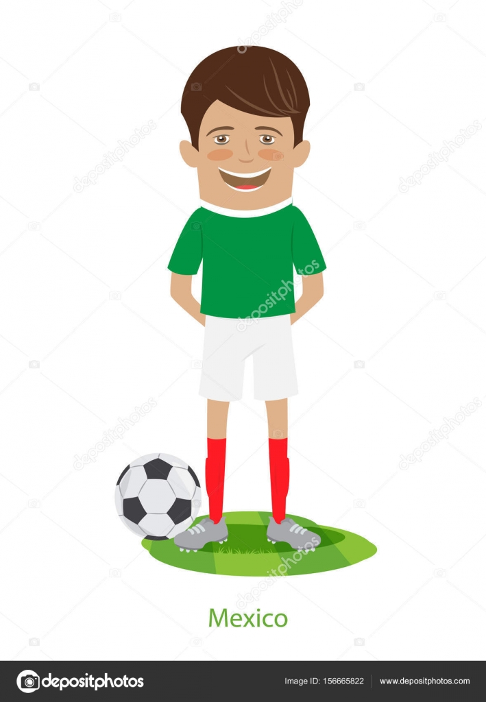 38467ab77df 2017 FIFA Confederations Cup Mexico team's uniform. Set of Funny football  soccer players charackters standing on the soccer grass field with ball.