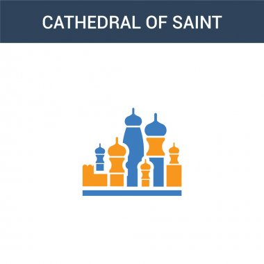 two colored Cathedral of saint basil concept vector icon. 2 color Cathedral of saint basil vector illustration. isolated blue and orange eps icon on white background.