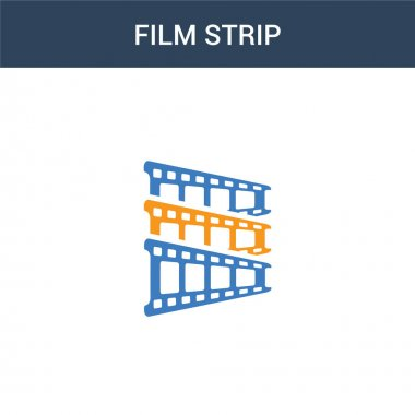 two colored Film strip concept vector icon. 2 color Film strip vector illustration. isolated blue and orange eps icon on white background.