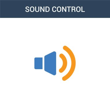 two colored sound control concept vector icon. 2 color sound control vector illustration. isolated blue and orange eps icon on white background.