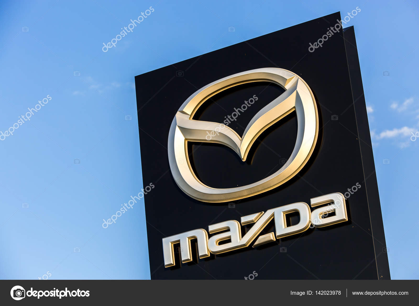 la rochelle france august 30 2016 official dealership sign of mazda against the blue sky. Black Bedroom Furniture Sets. Home Design Ideas