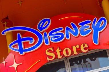 Disney Store label outside shop ocated in the disney village