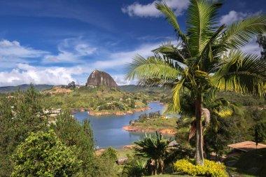 View of The Rock El Penol near the town of Guatape, Antioquia in