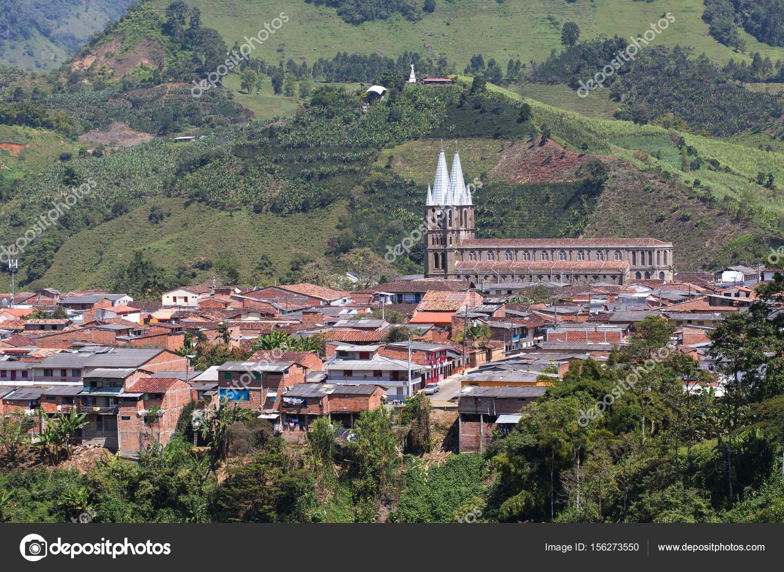 Vue De La Ville Coloniale Jardin Antioquia Colombie Photographie
