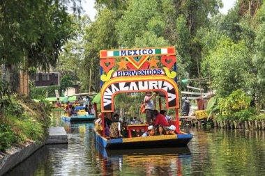 XOCHIMILCO, MEXICO - MAY 20, 2017: Colourful Mexican boats at Xo